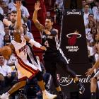 Ray Allen gets swarmed by the Spurs defense.