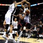 The Spurs relied on their defense to hold the Miami Heat to 87 points Sunday, en route to winning their fourth game in the championship series by 15 or more points.