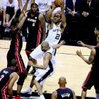 NBA Finals MVP Kawhi Leonard of the San Antonio Spurs rises for a shot in Game 5 against the Miami Heat. Leonard added 22 points and 10 rebounds in the win.