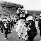 You've seen it many times: John Elway leads the Cardinal down the field to take a 20-19 lead with four seconds left. But on the ensuing kickoff, Cal completed five laterals (one of which was very close to being illegal) and survived several near tackles before the Bears' Kevin Moen found himself with the ball and nobody standing between him and the final 26 yards to the endzone ... except the Stanford Marching Band. No problem for Moen, who ran through the band on his way to the endzone and a 25-20 Cal win.