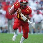 Iowa State QB Seneca Wallace showed off his elusive ability, zig-zagging through defenders with the help of a crushing block by Michael Wagner for a ridiculously long 12-yard TD run that covered nearly 100 yards to give the Cyclones a 10-3 lead in the third quarter.