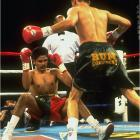 """Already the WBO lightweight champion, De La Hoya was gunning for the IBF version in only his 18th pro bout. The Mexican-born Ruelas, touted as a gritty challenger to the glitzy Golden Boy, promised an unrelenting attack. (Trainer Joe Goossen had said his fighter would be on De La Hoya like a """"soup sandwich."""") De La Hoya dropped Ruelas twice in the second round, then battered him against the ropes until referee Richard Steele stopped the bout."""