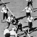 The Bears laid this historic beating on the Redskins in the 1940 NFL Championship Game. Using the famous T-formation, Chicago ran roughshod over the hapless `Skins to win the title. More than 36,000 witnessed the game at Griffith Stadium in Washington, setting a gate record at the time for the league.