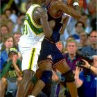 Though they barely finished over .500 (42-40), the Nuggets, led by Dikembe Mutombo, defeated top-seeded Seattle in overtime of Game 5 to win the series. It was the first time in history that an eight seed had defeated a one. Seattle, led by Gary Payton and Shawn Kemp, was plagued by Mutombo, whose 31 blocks set a record for a five-game series.