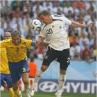 Lukas Podolski and the Germans outshot the Swedes 26-5, with 11 shots on goal to Sweden's two.