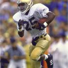 At Notre Dame, the Rocket won a national title as a flanker and finished second in the Heisman voting, earning All-America status and two SI covers to boot. The wideout and kick-return threat was also an All-America on the track, setting a school record in the 55-meter dash and winning 23 straight heats in that event.