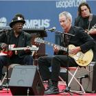 Tennis legend John McEnroe displays a different set of skills at the U.S. Open, joining Bo Diddley on guitar before the U.S. Open in 2005.