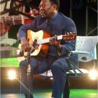"""Pelé opens the premiere of Maradona's television show, """"La Noche del 10,"""" in Buenos Aires. The soccer god both sang and played the guitar."""