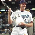 Randy Johnson serenades the Arizona faithful after notching the 3,000th strikeout of his career. The Diamondbacks honored the Big Unit in a ceremony in which he received a special-edition Fender guitar.