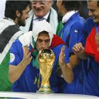 Francesco Totti, draped in the Italian flag, eyes the prize that's finally within reach -- literally.