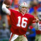"""His career was filled with dramatic performances under pressure. Starting with """"The Catch"""" in the 1981 NFC Championship Game, Montana always found a way to help the Niners win the big game. """"Joe Cool"""" never let pressure affect his play and was at his best in the national spotlight. He was 4-0 in Super Bowls and was MVP of the big game three times."""