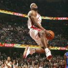 King James in full flight against the Pistons in the 2006 Playoffs.