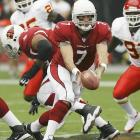 Last week: 6<br><br>Leinart showed a national television audience there's no way he should have dropped to the No. 10 overall pick in last April's draft. He led the Cardinals to a 20-0 lead over the Bears before Arizona's epic collapse. Leinart completed 24 of 42 passes with two touchdowns and no picks against the ferocious Chicago defense. He looks very comfortable in the pocket and Arizona's offense should take off in the next few weeks.