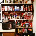 Who says college kids don't eat right? The pantry contains everything from peanut butter to popcorn to oatmeal.