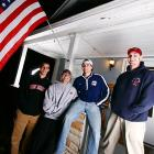 Welcome to the crib of Miami (Ohio) forward Nate Davis (far left). The house, which is owned by Davis' parents, is home to several members of the seventh-ranked Braves hockey team. Sharing Davis' pad is defenseman Brad Robbins (second from left), and defenseman Charlie Fetzer (far right). Goalie Charlie Effinger -- an unoffical resident of the house -- lives across the street.