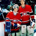 Roy's influence is seen today, from the lightweight goaltending equipment he helped design with Koho to the playing style of Jean-Sebastien Giguere, seen here at age 12 with the Habs' netminder in 1989. Giguere would go on to win the 2003 Conn Smythe Trophy with Anaheim, two years after Roy won his third and last.