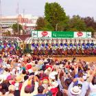 Horse racing fans watch the thoroughbreds break from the gate at the start the 132nd Kentucky Derby.