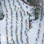 Participants at the annual Engadin skiing marathon are on their way from Maloya to S-Chanf in southeastern Switzerland.