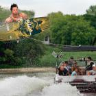 Wake and stuntboarder Duncan Jessiman shows his tricks on the Red River in Winnipeg.