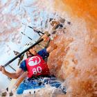 Olympian Scott Shipley paddles down rapids during the training session for the U.S. Slalom Kayaking Championships in Charlotte.