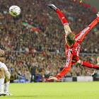Peter Crouch of Liverpool scores on an acrobatic kick against Galatasary in a UEFA Champions League, Group C match at Anfield Stadium in Liverpool.