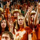 The Longhorn faithful appear to be hynotized by the action.