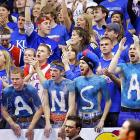 Kansas fans try and pump up the Jayhawks during the first half of Saturday's 69-66 loss to Texas A&M.