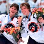 """The First Lady of U.S. Hockey, Cammi Granato (left) captained the U.S. team to a gold medal in 1998 - which ostensively introduced the country to the sport -- and a silver in 2002. She joined the U.S. women's national team in 1990 and played with USA Hockey until shortly before the 2006 Turin Olympics. """"We can all look at her scoring goals, but she is actually a builder,"""" St. Louis Blues president John Davidson said. """"She helped build a sport."""""""