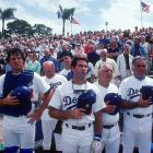 Catcher Mike Scioscia, first baseman Steve Garvey and manager Tommy Lasorda in 1982.