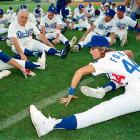 The Dodgers do The Jane Fonda workout in 1986.