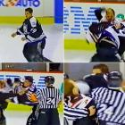 Despite conceding four inches and 30 pounds to Cloutier, plucky Passmore put forth a worthy effort in this scrap, and even appeared to get a chuckle out of it. Cloutier was apparently irked by Passmore's postfight jabber, and tossed a cheap shot as the refs were separating the two. Even Passmore's teammate, goon-legend Bob Probert couldn't restrain himself at the point. Click here to watch the fight!