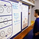 Friday 10:22AM<br> Right wing Steve Sullivan checks out the notes on the bulletin board in the locker room.
