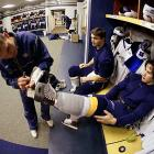 Saturday 9:56AM<br>Right wing Jordin Tootoo gets his skate sharpened in the locker room before the morning skate.