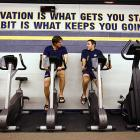 Saturday 5:46PM<br> Jason Arnott (left) and J.P. Dumont ride stationary bikes to warm up for the game.