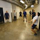 Saturday 5:54PM<br> Right wing Jordin Tootoo and teammates warm up by playing a little soccer in the hallway.