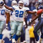 With a two-game road trip looming, the Cowboys' running back found himself in the fourth quarter against Seattle, 13 yards shy of the NFL career rushing mark (16,726) set by his friend, the late Walter Payton. A sellout crowd, including 30 members of Smith's family and Payton's mother and brother, looked on at Texas Stadium as Smith took a handoff three yards from the Dallas 27-yard line. On the next play, he bolted through holes opened by Jeremy McKinnery and Flozell Adams, stumbled, kept his balance and churned for an 11-yard gain and the new record.