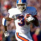 After a lackluster college career in which he transferred from Long Beach State to Georgia and missed most of his senior year with a hamstring injury, Davis fell to the sixth round. But he earned a starting spot in Denver his rookie season and provided the answer at running back the Broncos desperately needed. Davis helped the Broncos win the Super Bowl in 1997 and '98 and became the fourth running back to reach 2,000 yards in a season in '98.