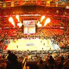 Players are introduced at a full Quicken Loans Arena in Cleveland.
