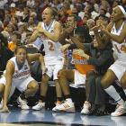 Tennessee's bench players cheer on their teammates in the Lady Vols' dominating performance.