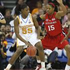 Nicky Anosike backs down Kia Vaughn of Rutgers. Anosike finished with four points and 16 rebounds in the Lady Vols' win.
