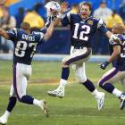 """This shot, taken at the end of Super Bowl XXXVIII in Houston, was a cover for the magazine. I was in the stands, just waiting for the end of the game and the celebration. I searched out Patriots quarterback Tom Brady on the sideline, who ran across the field, turned toward me, leaped and celebrated at the same time. As I always say, """"Thank you for your cooperation.""""<br><br>Shot with: Canon EOS-1D, EF 500mm f/4L IS USM"""