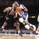 Ewing was a great rebounder and intimidator when he entered the NBA from Georgetown, but he made himself into one of the best-shooting centers who ever lived. For 13 straight seasons from 1988 to 2000, Ewing carried Knicks teams that often had ordinary talent into the playoffs, usually being turned back by teams (Chicago, Detroit) with vastly superior players. He is New York's career leader in points, rebounds, blocked shots and steals.