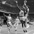In Bill Russell's final season as a player (he also served as head coach), Boston won its 11th title in 13 seasons only after erasing a 2-0 deficit and winning Game 7 in Los Angeles 108-106. The Celtics overcame the presence of first-year Laker Wilt Chamberlain and a scintillating series from Jerry West, who collected 42 points, 13 rebounds and 12 assists in the finale despite playing with a leg injury. West was named Finals MVP, the only player from the losing team ever to receive the award.