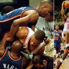 While the Heat conquered a 3-1 deficit, this matchup between the two bitter rivals is remembered more for the Game 5 brawl that resulted in the suspension of five Knicks players, four for leaving the bench during a fight between teammate Charlie Ward and P.J. Brown. New York played without Patrick Ewing, Allan Houston and Ward in a Game 6 loss, and Larry Johnson and John Starks were absent when the Heat took Game 7 in Miami behind Tim Hardaway's (right) 38 points.