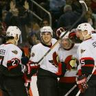 Peter Schaefer broke a third-period tie by deflecting Daniel Alfredsson's wrist shot into the net to give the struggling Senators just their second win in nine games.