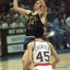 Golden State (48-34 in the regular season) swept Wes Unseld- and Elvin-Hayes-led Washington (60-22) in four tight games -- two one-point victories, a six-point win and an eight-point triumph. Rick Barry was named Finals MVP.