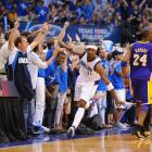 The Lakers were a on quest for their third straight championship and Phil Jackson's fourth three-peat. They were again favored to go all the way, despite a shaky first-round win over the seventh-seeded Hornets. The Mavericks were the Mavericks -- that team with an impressive regular-season record and loads of potential who was again expected to fall short in the postseason. But anything but the expected happened. The Lakers stunningly collapsed, while Dirk Nowitzki and the Mavericks dominated in a sweep. In Game 4, Jason Terry (pictured) drained a record-tying nine threes (of out 10 attempts) while Peja Stojakovic added six treys and the Mavs blew out the Lakers 122-86 in Dallas.