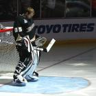 Jean-Sebastian Giguere gathers his thoughts before the start of Game 5.