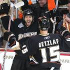 Andy McDonald is greeted by Ryan Getzlaf after scoring the game's first goal.
