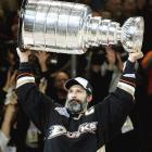 Familiar territory: Scott Niedermayer hoists the Stanley Cup for the fourth time. He won three with the Devils.